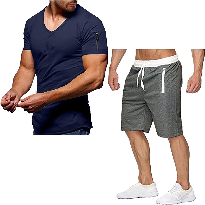 JSPOYOU Mens Shorts Outfit 2 Piece Set Short Sleeve Shirts Drawstring Pants Running Casual Workout Activewear Tracksuit