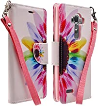 LG G4 Case- Magnetic Leather Folio Flip Book Wallet Pouch Case Cover With Fold Up Kickstand and Detachable Wrist Strap (SUN FLOWER WALLET)