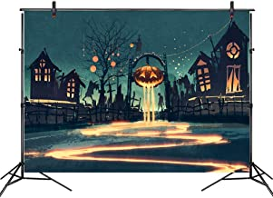LB 7x5ft Vinyl Halloween Pumpkin Ghost on Empty Street Background for Photography, Event Portrait, Photo Booth