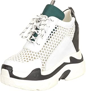 Cambridge Select Women's Retro 90s Mesh Lace-Up Chunky Platform Extra High Hidden Wedge Fashion Sneaker