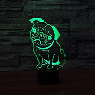 3D French Bulldog Dog Night Light Table Desk Optical Illusion Lamps 7 Color Changing Lights LED Table Lamp Xmas Home Love Brithday Children Kids Decor Toy Gift