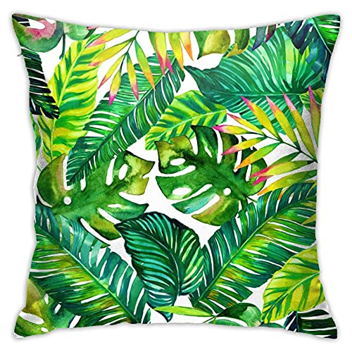 WAZHIJIA Decorative Throw Pillow Covers 18 X 18 Inch,Cotton Linen Cushion Cover Square Pillow Cases for Car Sofa Home Decor Palm Leaves