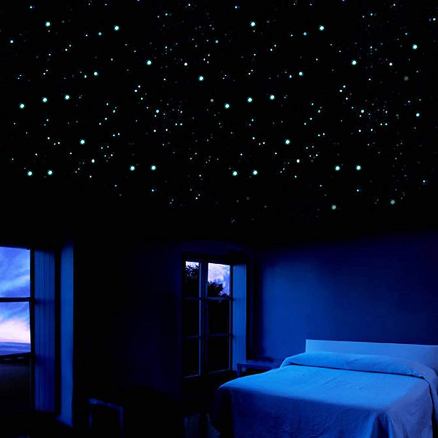 826 Pcs Glowing Wall Stickers 3D Stars Dots Stickers for Kids Bedroom Ceiling Wall Decoration Birthday Gifts Holiday Atmosphere