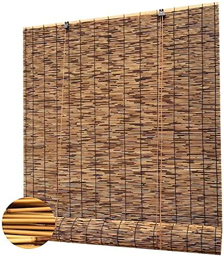 RYX Persianas romanas de carbonización, retro, cortina decorativa de caña de bambú natural, rodillo de elevación tejido a mano, transpirable, anti-UV (tamaño: 50 x 80 cm)