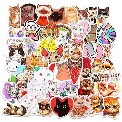130 Pieces Cat Stickers Waterproof Cat Theme Stickers Cat Shape Decals DIY Decorative Scrapbook Stickers for Envelope Scrapbook Laptops Windows Luggage Journals Bottles Decoration