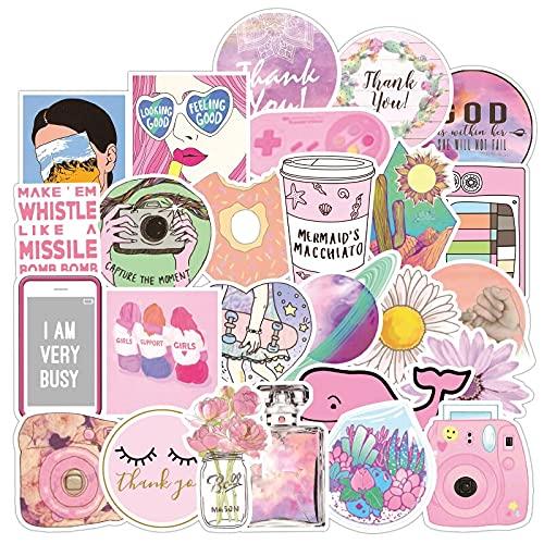 WWJIE PVC Impermeable Rosa niña Divertida Pegatina Juguetes para niños Coche y Maleta Laptop Stickers 100pcs