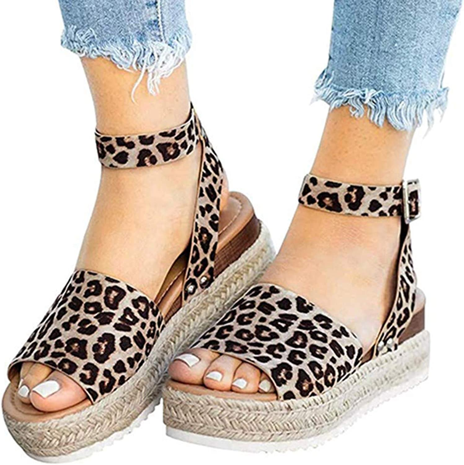 Sandals Wedges Summer Retro Peep Toe Buckle Ankle Strappy for Ladies Fashion Flat Lace Up 5 cm High Heels Leather Slingback shoes Casual Comfy Leopard Espadrilles,Leopard,43