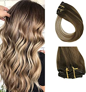 Sunny Balayage Clip in Extensions Brown to Blonde 20 inch Clip in Hair Extensions Balayage Dark Brown to Medium Brown Mix Blonde Balayage Clip on Hair 7pcs 120g