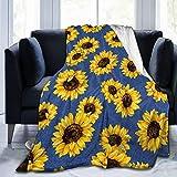 AuHomea Manta de franela de mezclilla con girasol, ligera y acogedora, para sofá, adecuada para todas las estaciones de 152 x 203 cm, para niños, mujeres y hombres