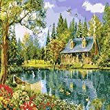 AITISI Paint By Numbers Kits,Paint By Numbers For Adults-Forest Cabin, Rolled Wrinkle-Free Canvas, 16x20 Inches (Without Frame)