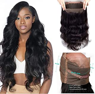 Lovbite 12Inch Human Hair Body Wave 360 Lace Frontal Closure 100% Unprocessed Remy Brazilian Body Wave Hair Per Plucked 360 Frontal Free Part Natural Color 8A Grade(12