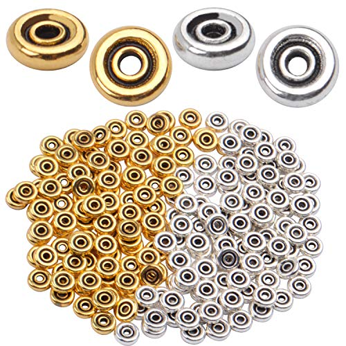 200pcs 6mm Flat Round Disc Alloy Rondelle Spacer Beads Craft Supplies for Bracelet Necklace Jewelry Making,2mm Hole