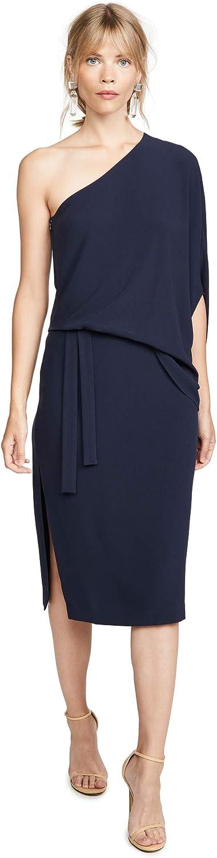 HALSTON Women's Draped Assymmetric Ranking Cheap SALE Start TOP17 Crepr Midi Dress Sleeve