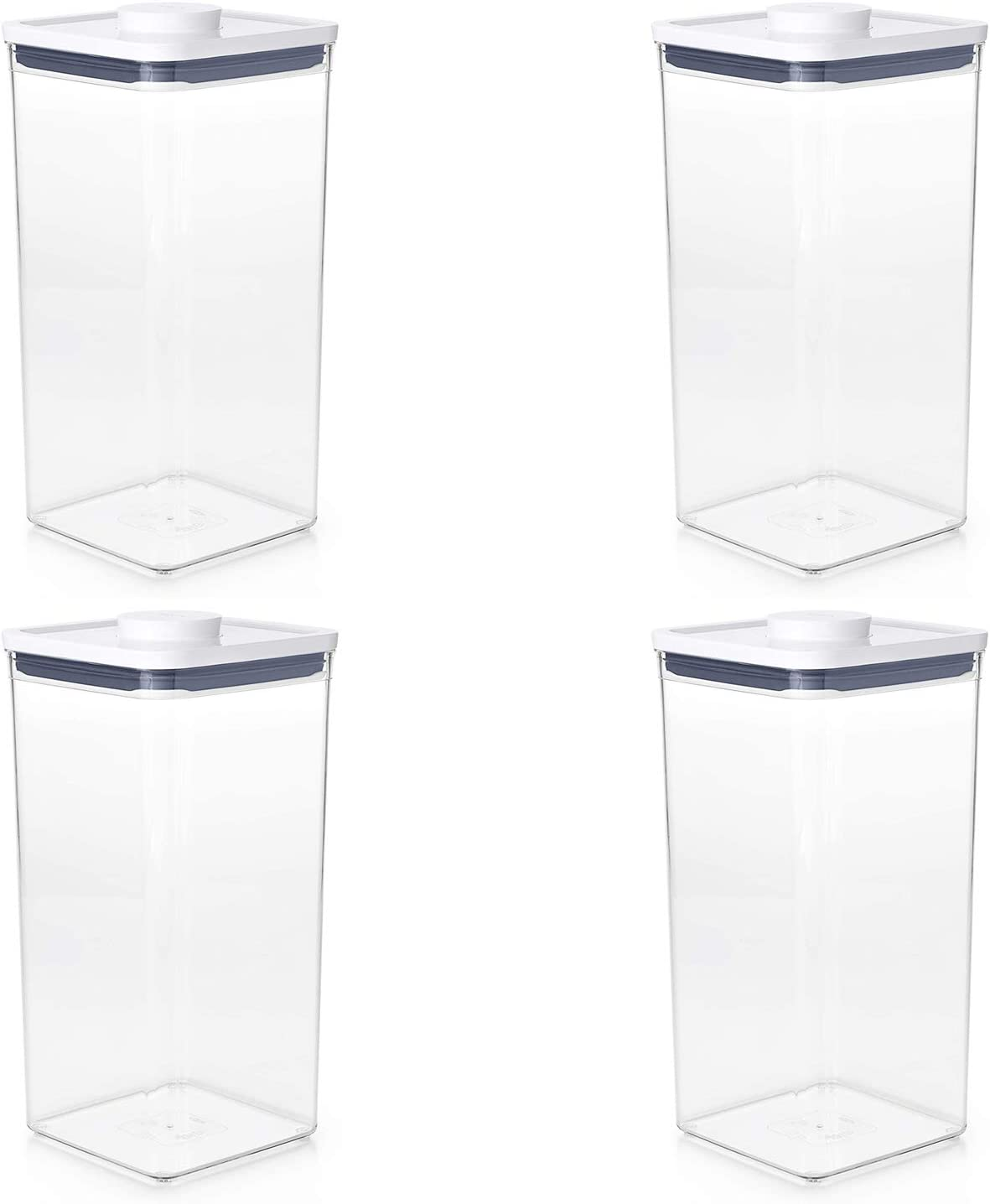 OXO 11233400 Good Grips Pantry Organization Airtight 6 Quart Bulk Food Storage Rectangular POP Container Made of BPA Free Plastic, Clear (4 Pack)
