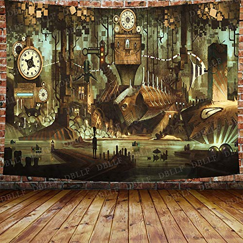 steampunk science fictions DBLLF Science Fiction Machinery Clock Tapestry Steampunk Steel Industrial City Tapestry for Bedroom Living Room Dorm 80X60 Inches DBZY1183