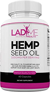 Organic Hemp Seed Oil Capsules for Women – Hemp Oil for Pain Support- Omega 3 6 9 Capsules Supports Anxiety Relief, Cardiovascular Health & Joint Health- Made in The USA - 60 by LadyMe