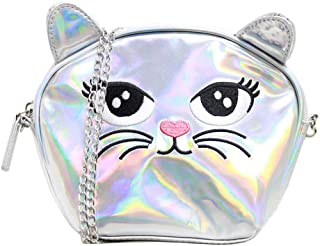 American Jewel Medium Kitty Purse - Cat Face Shoulder Bag with Removable Chain Strap - Silver