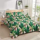 3Pcs Tropical Thick Green Banana Leaves Flowers Quilt Set Coverlet Full/Queen,Beach Themed Jungle Plants Quilted Bedspread Bedding Set Lightweight Great for Bedroom Home Decor (Dark Green,Full/Queen)