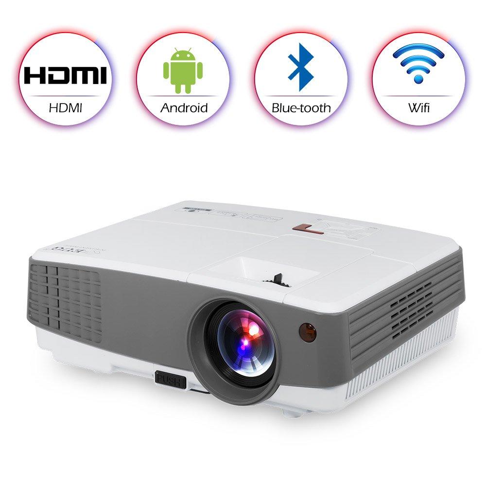 Proyector LED Inteligente LED WiFi Proyector 1080P HD Proyector Android HDMI LCD Proyectores de Video domésticos inalámbricos con HDMI Salida de Audio USB para iPhone iPad Mac TV DVD Películas Juegos: Amazon.es: