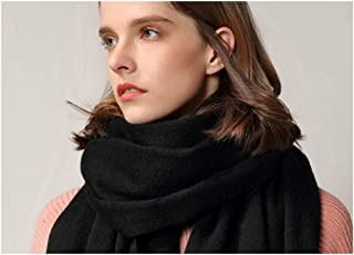 YINJIESHANGMAO Scarf Wool Scarf Ladies Solid Color Wild Plus Velvet Warm Scarf Autumn and Winter Large Shawl (Color : Black)