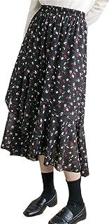[ヤンーチ] レディース 小さい花 花柄 シフォン フィッシュテール ドレス ハイウェスト ロング丈 春服 秋服 半身 スカート ウェストゴム ミモレ丈 ペプラムスカート ティアードスカート ファッション