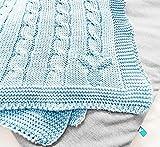 Wallaboo Babydecke Noa, Kuscheldecke aus Zopfstrick, Strickdecke aus 100% Bio Baumwolle, 70x90 cm, Made in germany, Farbe: Blau