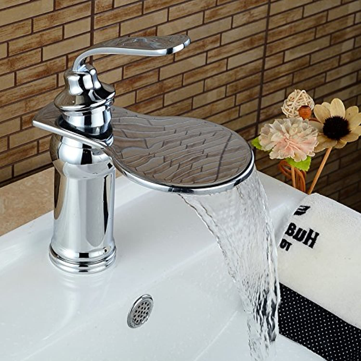 Retro Deluxe Fauceting Big Waterfall Basin Faucets Bathroom Basin Sink Brass Mixer Tap Hot Cold Chrome Polished Faucet Waterfall Mixer Bathroom Faucet,short chrome