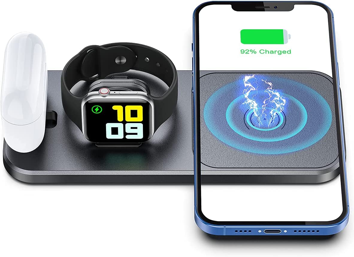 OLISSA Portable Wireless Charger for Apple Devices, 3 in 1 Foldable Charging Station for Apple Watch SE/6/5/4/3/2/1 Charger Stand Dock for AirPoods Pro/2/1 Fast Wireless Charging Pad for iPhone Gery