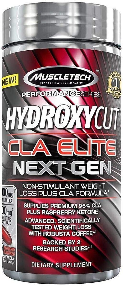 学習者アクティブ絶え間ないHydroxycut CLA エリートNEXT GEN(運動消費サポートサプリ 興奮剤不使用)ラズベリー(100ソフトジェルカプセル)[海外直送品] -2 Packs