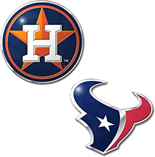 Professional Sports Teams Chrome Outlined Colored Auto Emblem. Emblems Available in NFL and MLB Sets or NHL and MLB Sets. Show Pride in Two Sports
