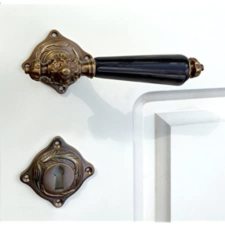 /Porte Jack avec poign/ées en porcelaine Blanc Ivoire/ antikas/ /Fermeture WC/ /Comme Antique