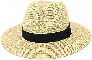 Hats Lady Women Wide Brim Straw Panama Hat Fedora Beach Sun Straw Hat Fashion (Color : Beige, Size : Adjustable)