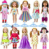 WONDOLL 10-Sets Doll-Clothes for 14-inch Dolls - Compatible with 14.5-inch American-Girl-Wellie-Wishers-Dolls Handmade Clothes and Outfits Accessories Christmas Birthday Gift for Little Girl