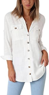 Womens Casual Loose Roll-up Sleeve Blouse Pocket Button Down Shirts Tops