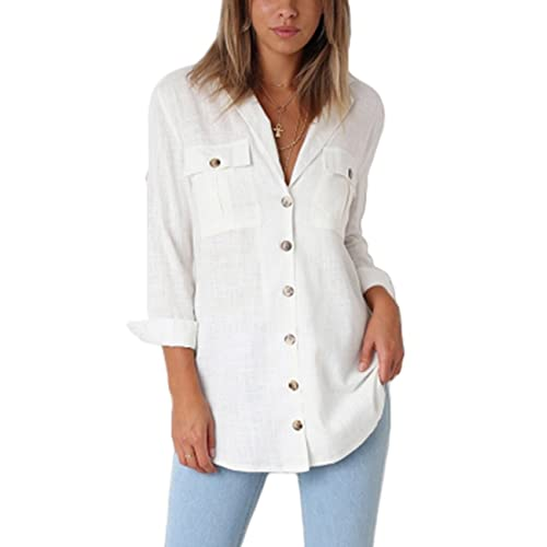 d5db40460f91d GRAPENT Womens Casual Loose Roll-up Sleeve Blouse Pocket Button Down Shirts  Tops