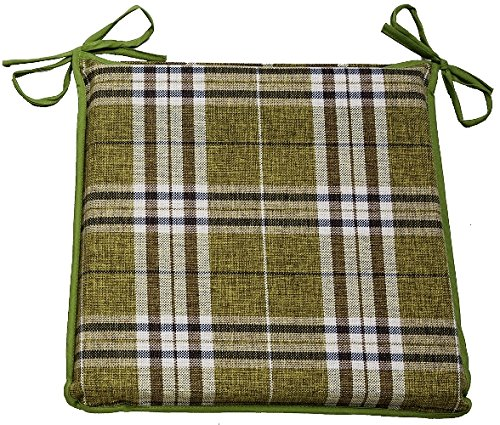 CnA Stores Set of 4 Tartan Check Reversible Kitchen Dining Garden Chair Cushion Seat Pads With Ties Zipped Removable Covers (Green)
