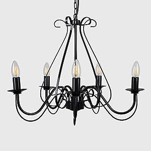 MiniSun – Lámpara elegante de techo 'Anais' - vintage de estilo candelabro - de gran dimensión, metálica, 5 luces y color negro brillante