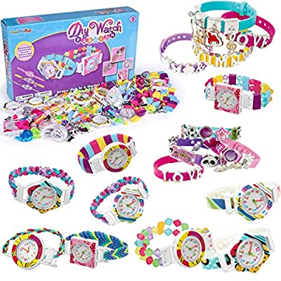 FUN LITTLE TOYS Pop Beads 400+ PCs, Kids Jewelry Making Kits, DIY Watch Craft Bracelet Making Kit for Girls, Creative Arts and Crafts for Kids