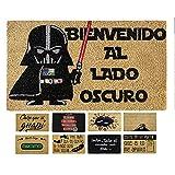 LucaHome - Felpudo Coco Entrada casa 40x60 con Base Antideslizante, Felpudo de Coco Divertido Lado Oscuro,Felpudo Absorbente, Ideal para Puerta Exterior o Pasillo