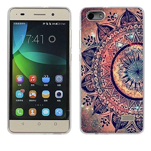 FUBAODA für Huawei Honor 4C Hülle, [Mandala Blume] Kratzfeste Plating TPU Hülle für Huawei Honor 4C (G Play Mini) Hülle Schutzhülle Silikon Crystal Hülle Durchsichtig für Huawei Honor 4C (G Play Mini)