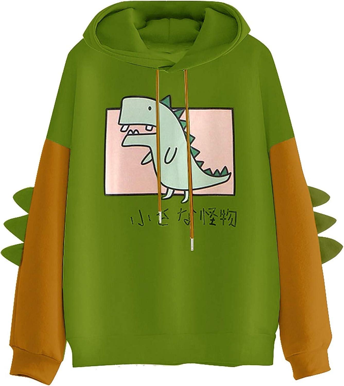 AODONG Sweaters for Women Dinosaur Hoooded Sweatshirt Cute Long Sleeves Splice Tops Cartoon Printed Hoodies Pullover