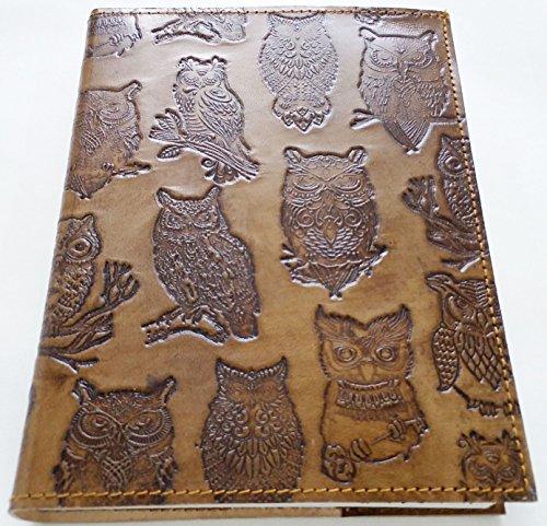 Caderno de couro feito à mão recarregável diário em relevo com coruja