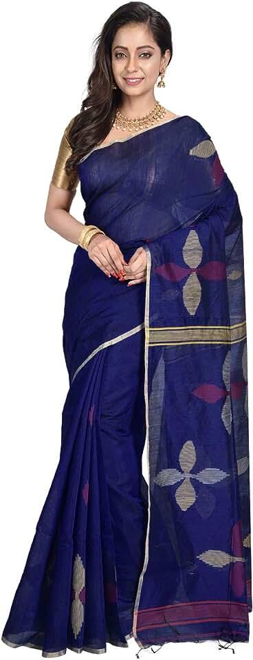 Indian Avik Creations Women's Banarasi Silk & Cotton Saree With Blouse Piece (H950-76_Dark Blue & Red) Saree