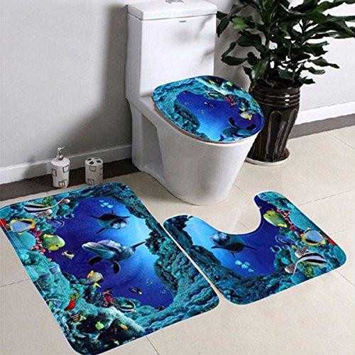 Kicode 3 Piezas Franela Antideslizante Sea World Juegos de alfombras de baño Alfombra de baño + Pedestal Mat + Toilet Seat Cover Mat
