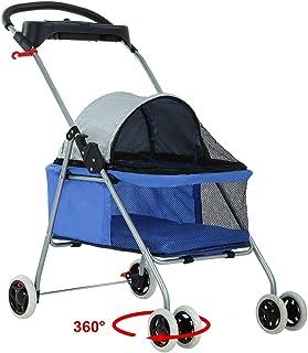 BestPet Pet Stroller 4 Wheels Posh Folding Waterproof Portable Travel Cat Dog Stroller..