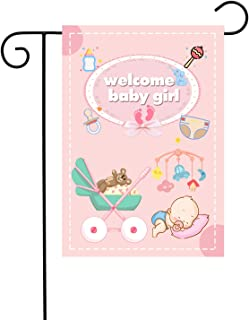 """Chien-Min666 Welcome Baby Girl Garden Flags Gender Reveal Outdoor Decorative House Yard Flag 12"""" W x 18"""" H (pink1)"""