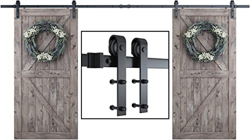 """2021 SMARTSTANDARD 13 Feet Heavy Duty Double Gate Sliding Barn Door lowest Hardware Kit-Smoothly and Quietly-Easy Installation-Includes Detailed Instruction-Fit 36""""-40"""" Wide DoorPanel (J new arrival Shape Hanger) online sale"""
