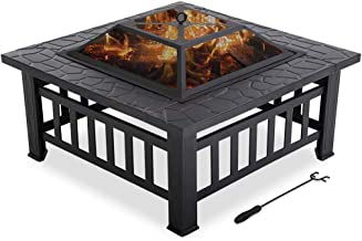 """Outdoor Fire Pit for Wood 32"""" Metal firepit for Patio Wood Burning Fireplace Square Garden Stove with Charcoal Rack, Poker..."""
