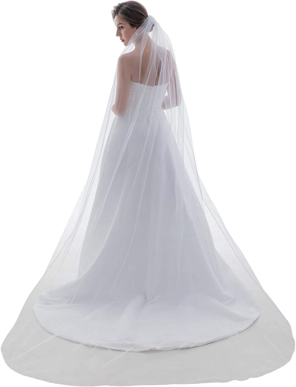 SAMKY 1T 1 Tier Sattin Rattail Cord Edge Bridal Veil Cathedral Length 108
