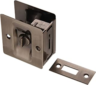 The Hillman Group 852732 Pocket Door Latch - Solid Brass - Pewter Finish 1-Pack